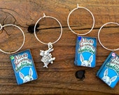 Set of 6  Miniature Alice In Wonderland inspired books  -  wine glass charms  Book Club book wine lover -fairytale