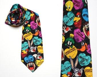 vintage 90s Looney Tunes tie Valentine's Day necktie mens vintage cartoon novelty tie 100% silk Warner Bros. Daffy Bugs Marvin Taz