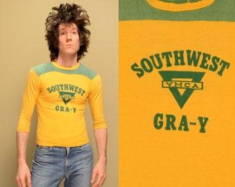 vintage 40s 50s YMCA jersey Southwest GRA-Y raglan football shirt 1940 1950 boys mens menswear small slim S XS