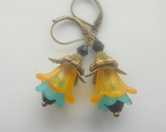 Orange Blue and Black Lucite Flowers Earrings