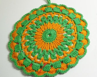 Vintage Hand Crocheted Hot Pad Trivet, Gold Green Red Ivory, cottage charm table decor textile