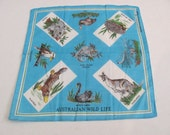 Beautiful Souvenir Australia Cotton Vintage Hankie Handkerchief - New Unused