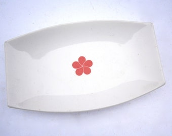 Vintage White Ceramic Rectangular Tray Dish Serving Glaze Pottery Plate Red Camellia Single Flower Small Miniature Platter Mini Catching All