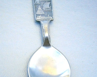 Vintage Norway Norge Spoon Souvenir Pewter Collectible Norwegian Viking Stag Silver Tone Salt Serving Church Vessel Ship Historical Antlers