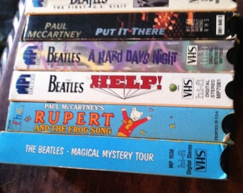 Vintage lot of beatle / paul mc cartney vhs tapes