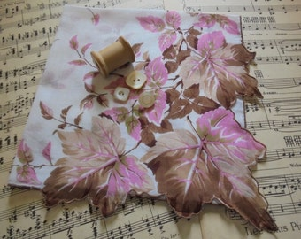 Lovely hanky in soft shades of pink and brown