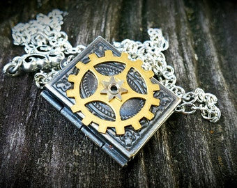 Cog Book Locket - Steampunk Inspired Pendant