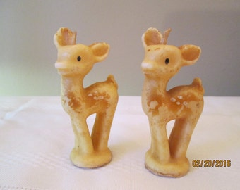 Vintage Tavern Candle Socony Vacuum Co Made in USA Deer Fawn Woodland Candles