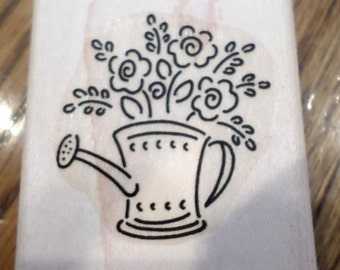 Garden Watering Can Full Of Flower Blooms Cut Flowers  Wooden Rubber Stamp
