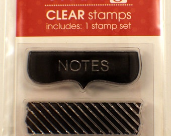 Notes Chevron Stripes Studio G Clear Cling Rubber Stamp Set