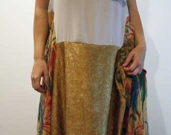 M-XL Dress-Gold-Yellow-Floral-Drop Waist-Pocket-Layered-Summer-Comfortable-Gypsy-Short Sleeves-Long