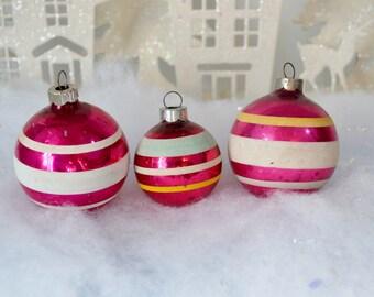 Vintage Striped Pink Christmas Ornaments Fuschia Magenta White Yellow Aqua Shiny Brite Set of 3 Three 1950's