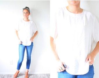 20% OFF BIRTHDAY SALE Vintage white silk blouse // boho short sleeve blouse // silk off white blouse // boho top // cream blouse // ivory bl