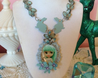vintage rhinestone Blythe necklace assemblage in blues