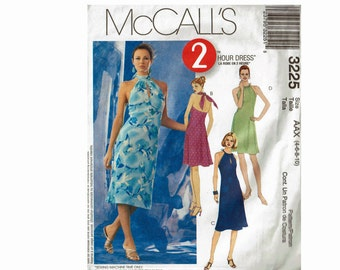 Glamorous Keyhole Halter Dress Uncut Sewing Pattern OOP McCalls 3225 Sizes 4 6 8 10 2 Hour Dress Pattern