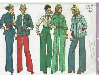 1970s Smock Top Jacket Blouse and Pants Bust 36 Size 14 Simplicity 6621 UNCUT 70s Vintage Sewing Pattern Misses