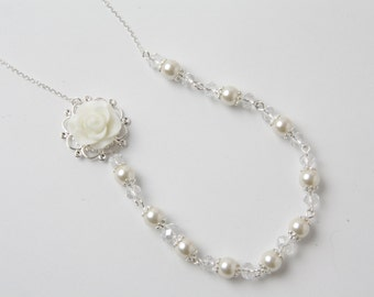 Bridal Necklace, Ivory Pearl and Crystal necklace, Ivory wedding necklace, bridal jewelry, off white rose necklace, garden wedding
