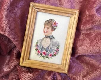 Hand embroidered framed silk print