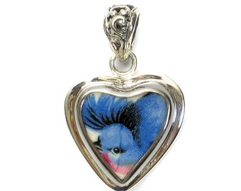 Broken China Jewelry Vintage Red Breasted Blue Bird Bluebird Sterling Small Heart Pendant
