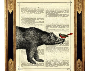 Bird sitting on a Bear's Nose - Vintage Victorian Book Page Art Print Steampunk