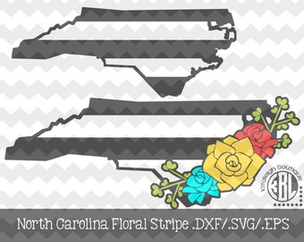 North Carolina Floral Stripe design INSTANT DOWNLOAD in dxf/svg/eps for use with programs such as Silhouette Studio and Cricut Design Space