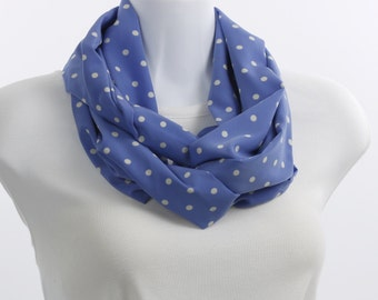 Infinity Scarf Silky Blue and White Polka Dot ~ SK231-L5