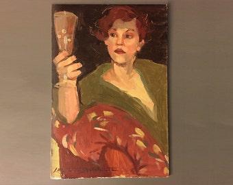 Female Portrait by Leslie Sandbulte Original Oil Painting on Masonite Board 1990s