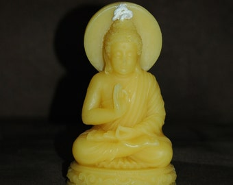 Beeswax Buddha Candle ~ Pure Beeswax Candle ~ Buddha Sitting In a Lotus Position