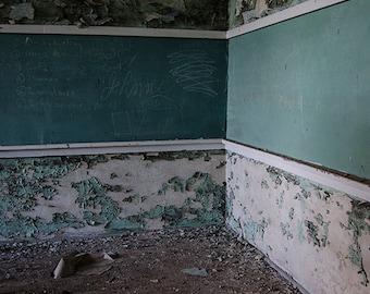 Old School Texas Chalkboard Peeling Paint Green Derelict Education Decay Urbex Signed Photo Surreal Dark Jewel Tones Art by LadyAlchemy13