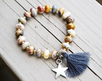CRAZY AGATE  Bracelet Silverplated Star Charm Tassel Stretch Bracelet