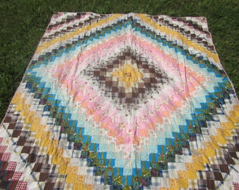 "antique patchwork quilt, many colors,,no rips etc 88"" by 74"""