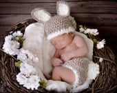 Baby Bunny Hat and Diaper Cover Crochet Set-Perfect for Newborn Photo Prop, Easter or Halloween costume