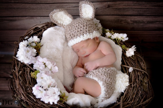READY TO SHIP Baby Bunny Hat and Diaper Cover Crochet Set-Perfect for Newborn Photo Prop, Easter or Halloween costume