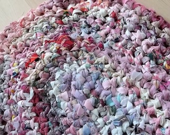 Pretty Pink Oval Crocheted Thick Rag Rug
