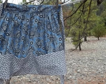 Womans Half Apron in Blue Bandana Cotton Fabric With Hem line Pocket