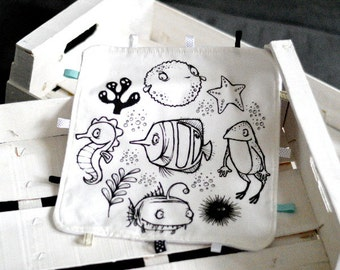 Lovey with SEA ANIMALS Baby Taggy Taggie blanket Baby comforter Comfort blanket Sleep cloth  White black Scandinavian style Monochrome