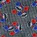 Vintage 1940s quilt fabric in unused cotton with largerconv. red/ blue flower boquet pattern on small checkered white/ black bottomcolor