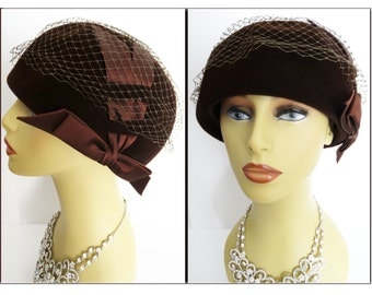 1950s Hat//Deluxe Velour//Brown//Satin Bow Ornamentation//Mad Man//Rockabilly//