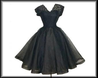 Vintage 1950s Dress//Ferman O'Grady//Black//50s dress// Garden Party//New Look//Mod//Mad Man//