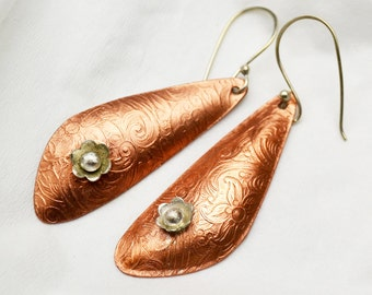 Textured Copper Earrings with Sterling Silver Flowers and Ear Wires