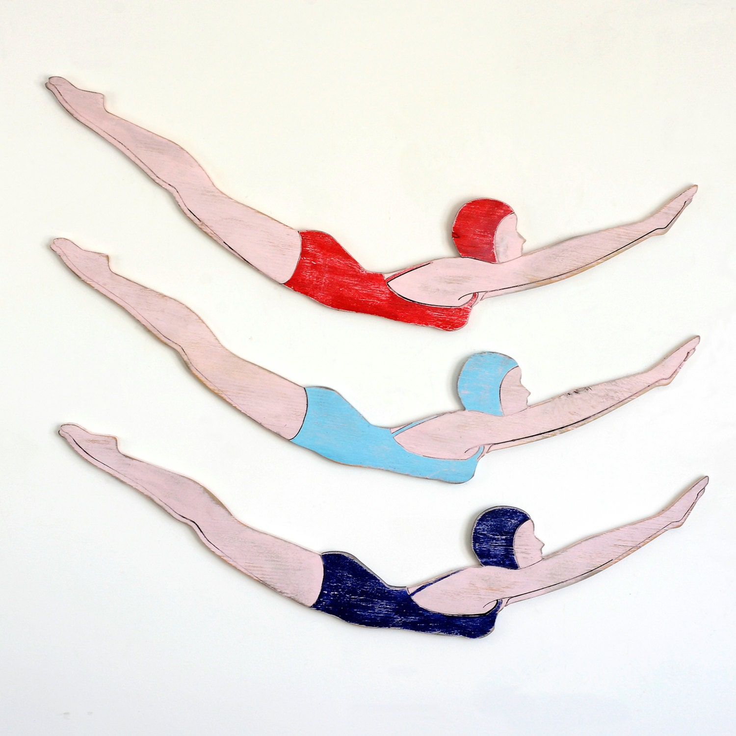 Swimming Pool Plaques Signs Wall Decor: Diver Girl Sign Wooden Retro Swimmer Retro Diver Pool Decor