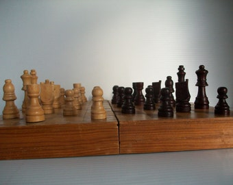 vintage wooden chess set | chess set wooden box | vintage chess game | rustic wooden box | vintage games | chess board | game room decor