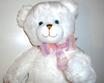 Musical Plush Stuffed Animal - Pure Polar White Teddy Bear - Your Choice of Song - Dena
