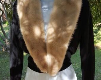 Vintage Black Mink Collared 1950s Sweater. Stunning