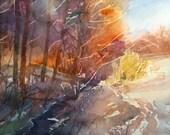 Winter Creek, Original watercolor painting