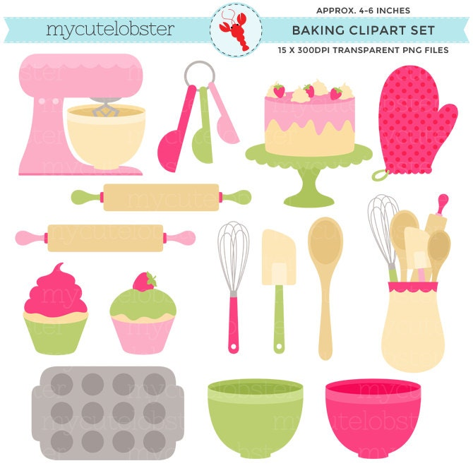 Pink & Green Baking Clipart Set Clip Art Set Of Cakes