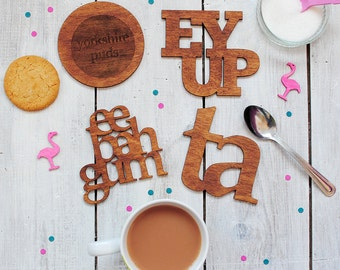 Yorkshire Coasters | Set of Four | Wooden Coasters | Ey Up | Ta | Yorkshire Puds | Eebahgum | Homewares | Housewarming Gift
