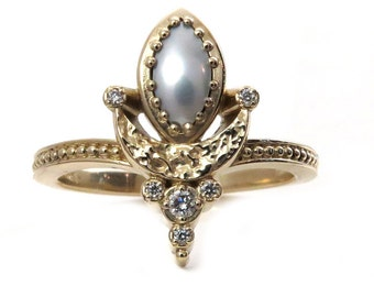 Marquise Pearl Moon Ring with Tiny Diamonds - 14k Yellow Gold Modern Fine Jewelry