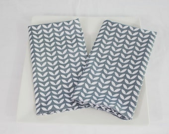 Grey and White Petals Cloth Napkins - Double Sided, Thick and Large - set of 2