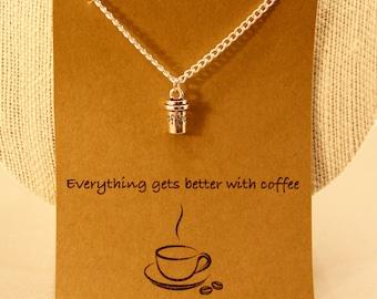 Coffee Necklace: Coffee Cup Necklace, I Heart Coffee, Caffeine Lover, Starbucks, I love Coffee, Coffee Mug Studs, Barista